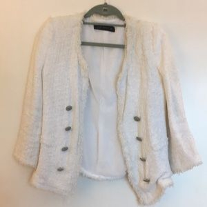 Zara white soft tweed blazer large